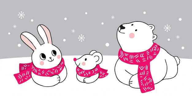 Kreskówka uroczych zwierzątek zimą