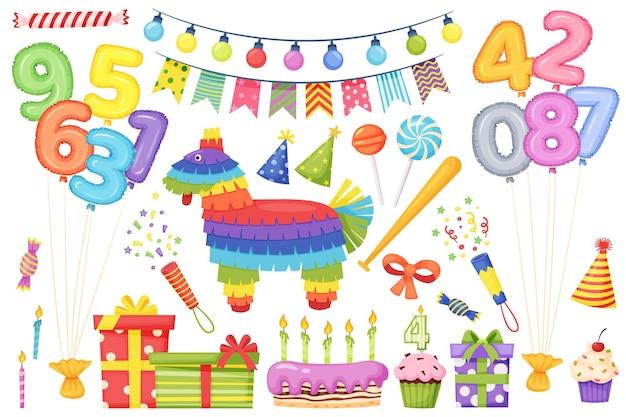 Kreskówka urodziny uroczystości dekoracji dzieciak elementy strony tort ze świecami wektor zestaw