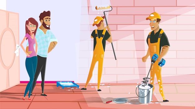Kreskówka usługi malowania domu lub mieszkania