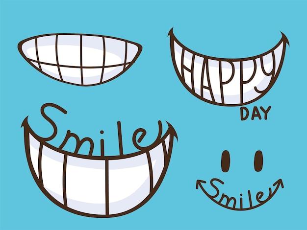 Kreskówka uśmiech szczęśliwy zestaw