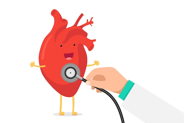 Kreskówka uśmiechający się zdrowy serce charakter szczęśliwy emoji emocji i ręka trzyma stetoskop sprawdzić szybkość. zabawna kardiologia narządu krążenia. ilustracja wektorowa eps