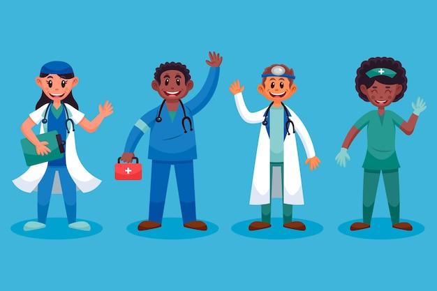 Kreskówka uśmiechnięci lekarze i pielęgniarki