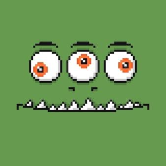 Kreskówka uśmiechnięta twarz potwora w stylu sztuki pikseli.