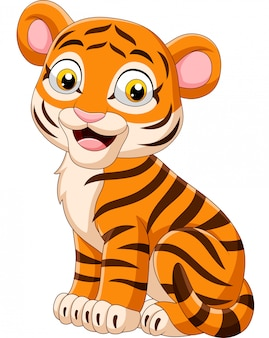 Kreskówka uśmiechnięty dziecko tygrysa obsiadanie
