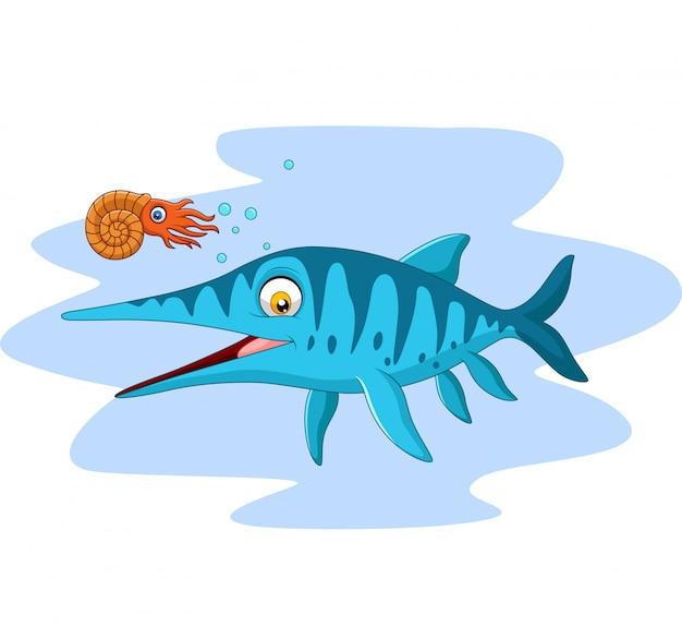 Kreskówka uśmiechnięty ichtiozaur i łodzik