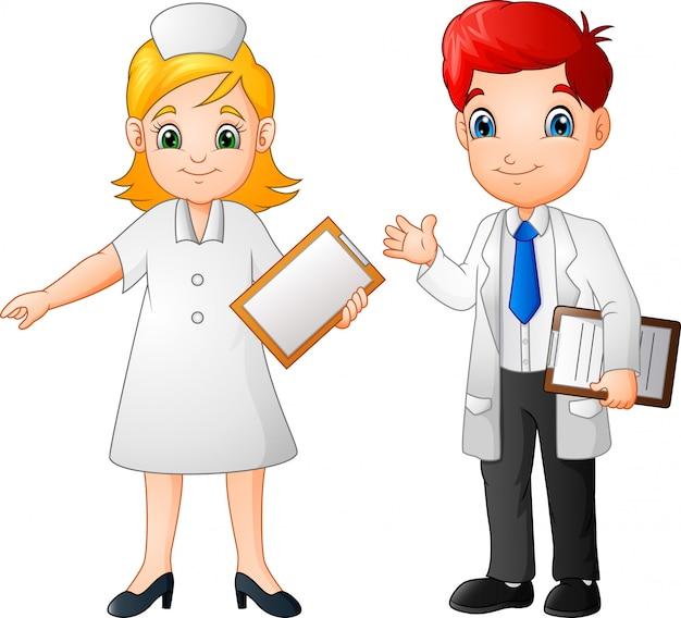 Kreskówka uśmiechnięty lekarz i pielęgniarka