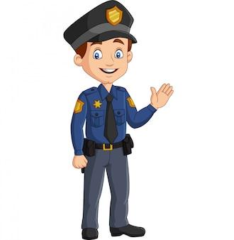 Kreskówka uśmiechnięty policjant macha ręką