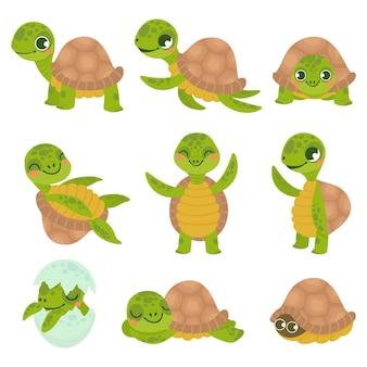 Kreskówka uśmiechnięty żółw. śmieszne małe żółwie, spacery i pływanie żółw zwierząt wektor zestaw. kolekcja uroczych, przyjaznych gadów wodnych i lądowych. urocze gady zamieszkujące morze i ląd.