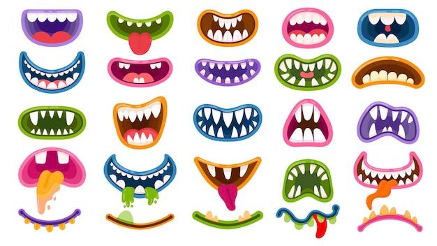 Kreskówka usta potwora. straszny i usta z zębami i językiem. maski halloween, potwory joker śmiech i przerażający klaun uśmiech wektor zestaw. potwór i komiczne usta, ilustracja postaci halloween