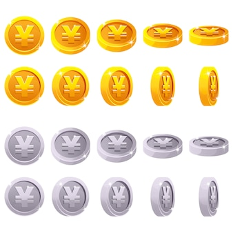 Kreskówka ustawiająca 3d jenu monety juan metaliczny symbol, chiński pieniądze, wektorowy animaci gry obracanie