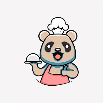 Kreskówka w stylu słodkie gotowanie panda ilustracja