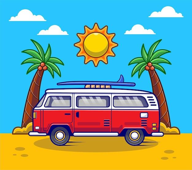 Kreskówka wakacje letnie samochodów van. koncepcja samochodu ciężarowego do domu płaska