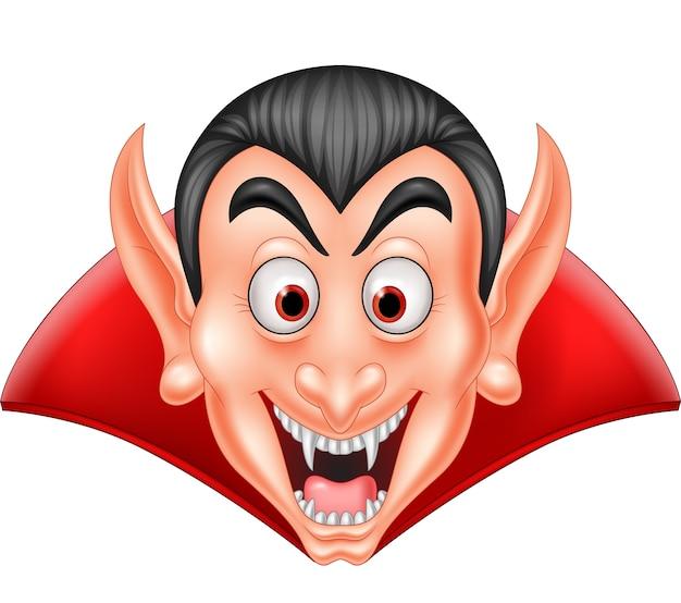 Kreskówka wampira głowa odizolowywająca na białym tle