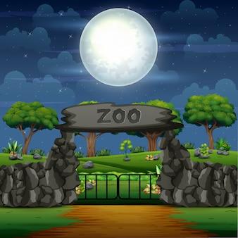 Kreskówka wejście do zoo w scenie nocy