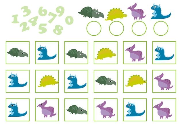 Kreskówka wektor ilustracja edukacji liczenia gry z dinozaurem kreskówka dla dzieci