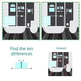 Kreskówka wektor ilustracja znajdowania różnic między obrazkami gra edukacyjna z wnętrzem łazienki