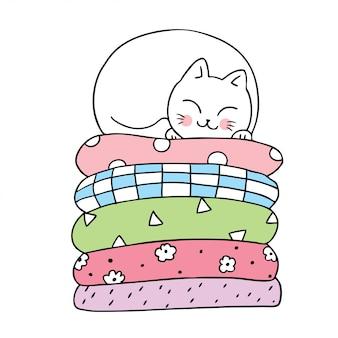 Kreskówka wektor ładny kot śpi.