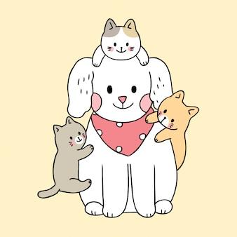 Kreskówka wektor ładny pies i koty