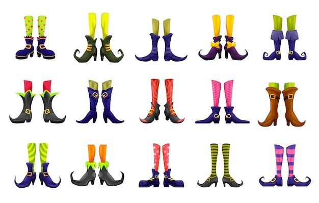 Kreskówka wektor nogi wróżki, czarownicy, czarodziejki, piekielnego kota, elfa i czarodziejki. postacie halloween, bajki, boże narodzenie lub dzień świętego patryka. śliczne zabawne stopy w butach, pasiaste podparcia i wścibskie buty