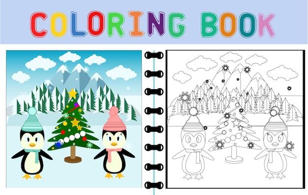 Kreskówka wektor ślicznych pingwinów z choinką w tle śniegu kolorowanka lub strona