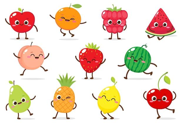 Kreskówka wektor zestaw zabawnych owoców