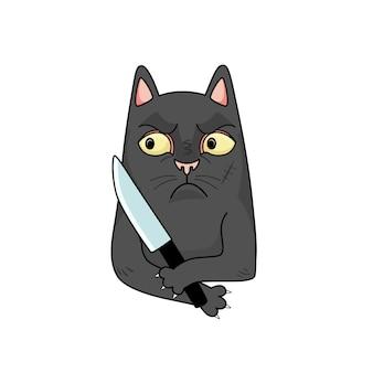 Kreskówka wektor zły czarny kot z nożem.