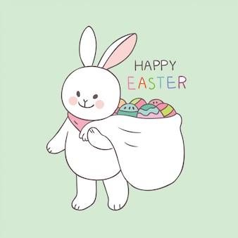 Kreskówka Wielkanocnego dnia królika ustalony wektor.