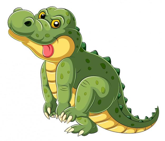 Kreskówka wielkiego aligatora z wysuniętym językiem