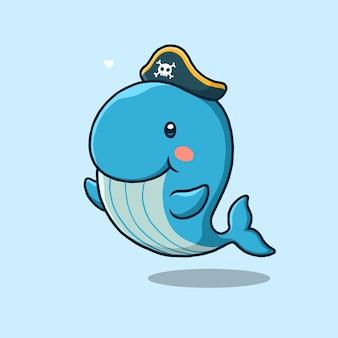 Kreskówka wieloryb pirata na niebieskim tle