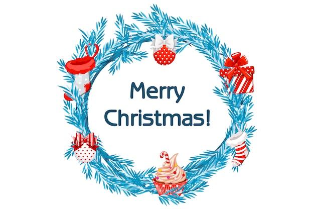 Kreskówka wieniec niebieski świerk z atrybutami bożego narodzenia, skarpety, prezent, babeczka i bale. wesołych świąt