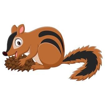 Kreskówka wiewiórka trzyma stożek