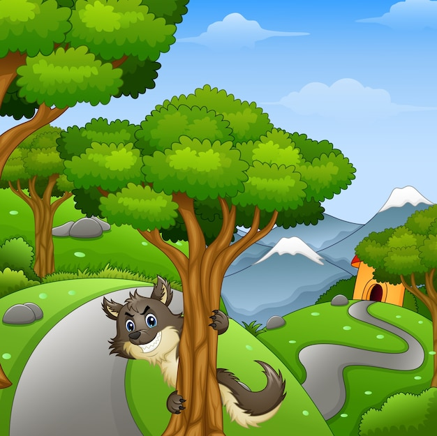Kreskówka wilk czai się w leśnej drodze