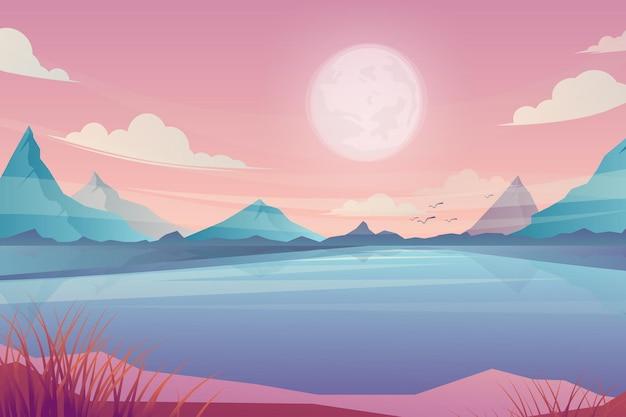 Kreskówka wiosna lato piękna scena, malownicze błękitne jezioro i wschód słońca nad górami