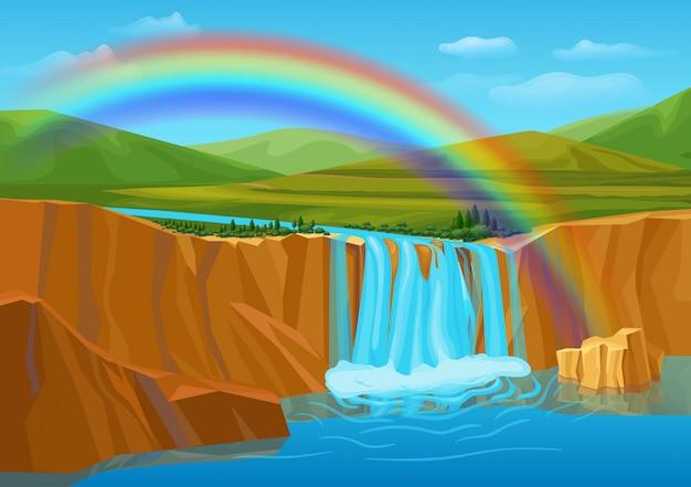 Kreskówka wiosna natura krajobraz szablon