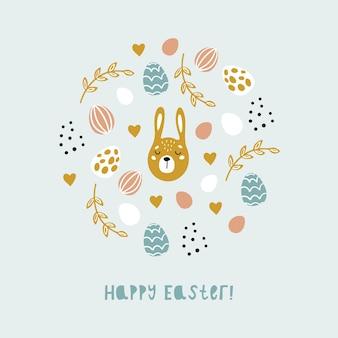 Kreskówka wiosna wesołych świąt wielkanocnych z jajkami, króliczkami i kwiatami. kolorowa ilustracja