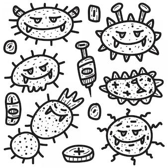 Kreskówka wirus doodle szablon