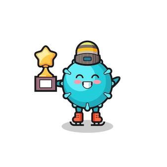 Kreskówka wirus jako gracz na łyżwach trzyma trofeum zwycięzcy, ładny styl na koszulkę, naklejkę, element logo
