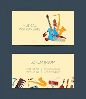 Kreskówka wizytówki instrumentów muzycznych