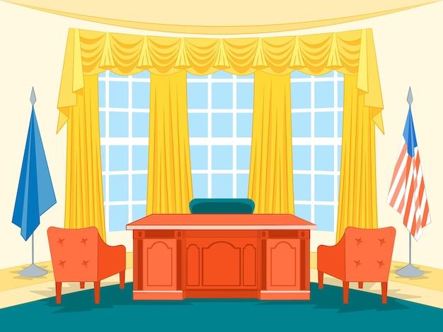 Kreskówka wnętrza gabinetu prezydenta rządu lub gabinetu z elementami stylu płaski meble. ilustracja wektorowa