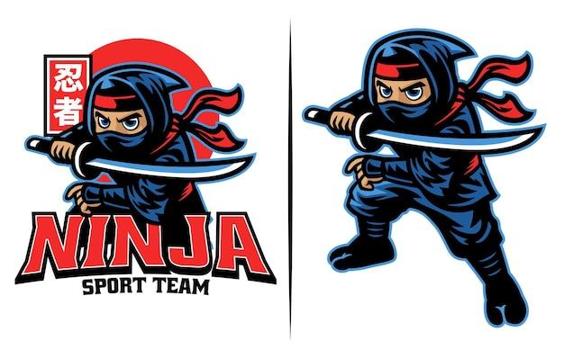 Kreskówka wojownika ninja z mieczem katana