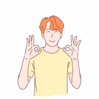 Kreskówka wskazując mężczyzna