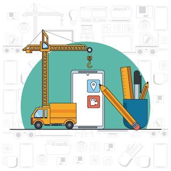 Kreskówka wsparcia konserwacji urządzenia technologicznego