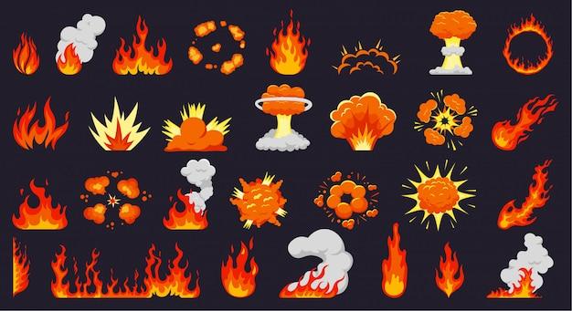 Kreskówka wybuchy ognia. płomienie ognia, gorące ognisko, wybuchowe chmury bomb, płonąca eksplozja. płomień zestaw ilustracji sylwetki. siła ognia, podmuch dymu, kolekcja dynamitu