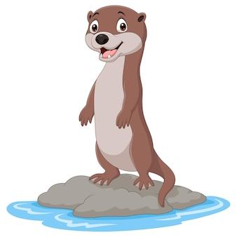 Kreskówka wydra stojąca na kamieniu