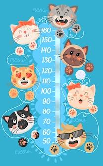 Kreskówka wykres wzrostu dzieci z śmieszne koty i kocięta. miarka wzrostu ściana, linijka z uroczymi kotkami bawiącymi się wskazówkami na nitce, dziecinny wzrostomierz z kotkami i łapkami