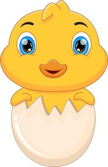Kreskówka wylęgająca się kaczka z jajka