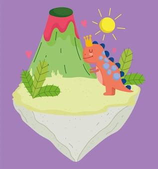 Kreskówka wymarły dino i ilustracji wektorowych tropikalny wulkan