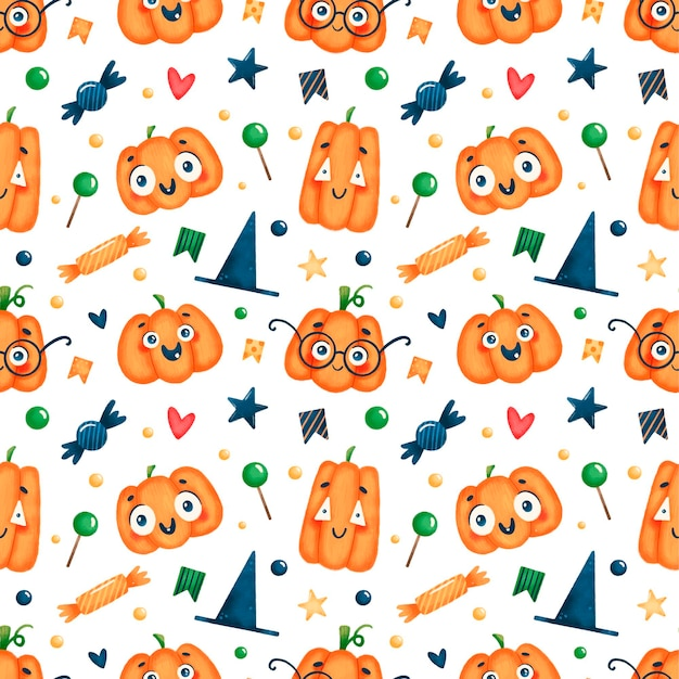 Kreskówka wzór dyni halloween