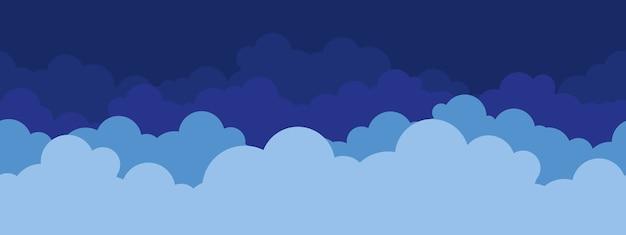 Kreskówka wzór niebieskie chmury, dziecinna tapeta.