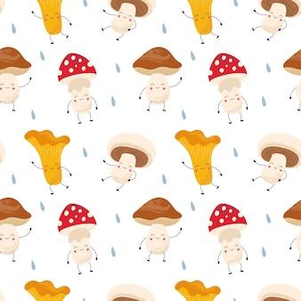 Kreskówka wzór śmieszne grzyby kurki, amanita, pieczarki, borowiki. las po deszczu. druk na opakowaniach, tkaninach, tapetach, tekstyliach.